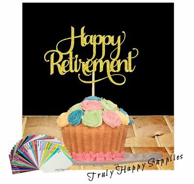 Happy Retirement Cake Topper Party Decorations in Glitter Card