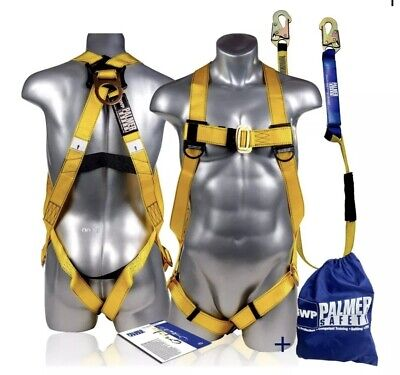Palmer Safety Fall Protection Safety Harness Wdetachable 6 Single Leg Lanya...