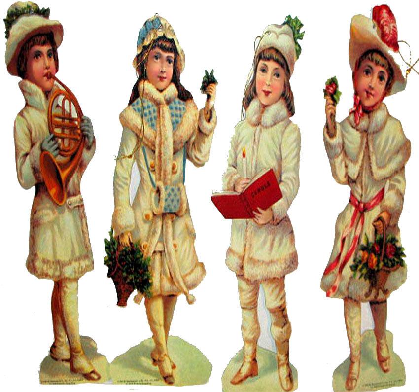 "VICTORIAN CHILDREN Christmas ORNAMENT s 8/"" Decorations MINT Shackman Pkg of 4"