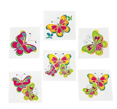 72 BUTTERFLY TATTOOS Girl's Butterflies Luau Birthday Party Favors - Butterfly Party Favors