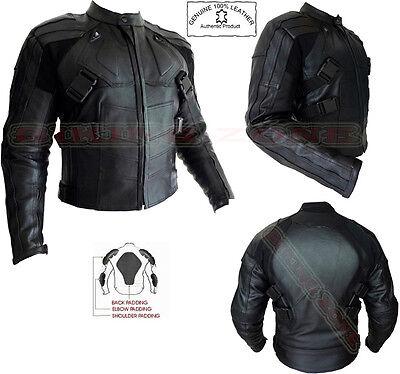 Deadpool Estilo Hombre Negro Blindado Moto Chaqueta de Cuero