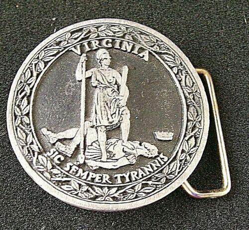 Vintage State of Virginia SIC SEMPER TYRANNIS / Solid Pewter US Belt Buckle