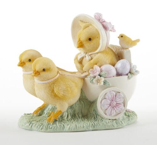 "New Spring Easter Peeps FLOWER CHICK PULLING EGG CART FIGURINE Statue Figure 4"""
