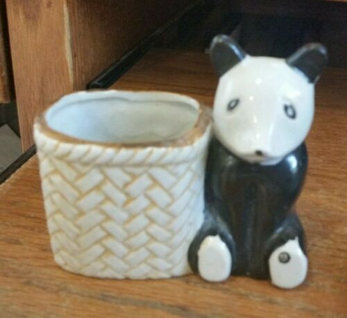 Vintage Ceramic Panda Bear w/Basket Mini Planter -Japan
