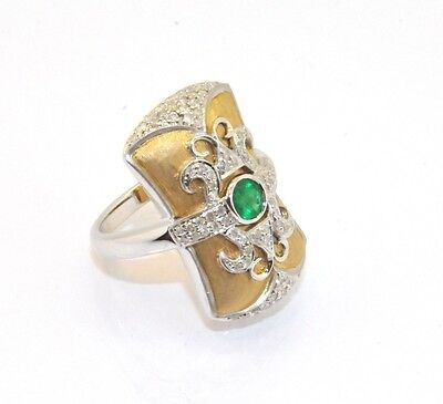 Real Emerald CZ Gemstone Sultan Status Ring Solid 14K Yellow White Gold Size 7 14k White Gold Statue