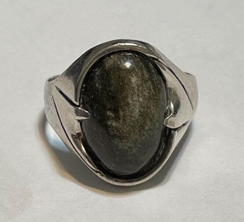 Vintage Sterling Mexico Green Jasper Ring Signed SMR Size 11