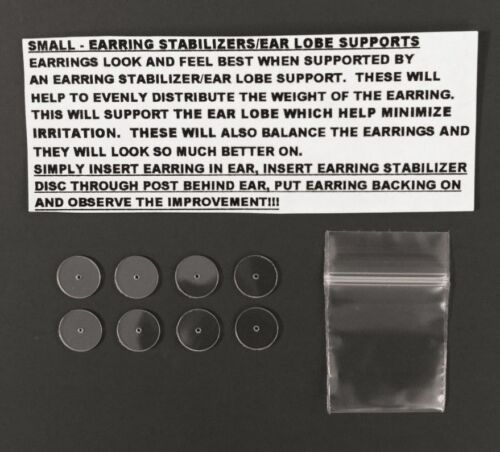 RARE SMALLER EARRING STABILIZERS PROTECTORS ROUND PLASTIC DISCS SUPPORT BACKS