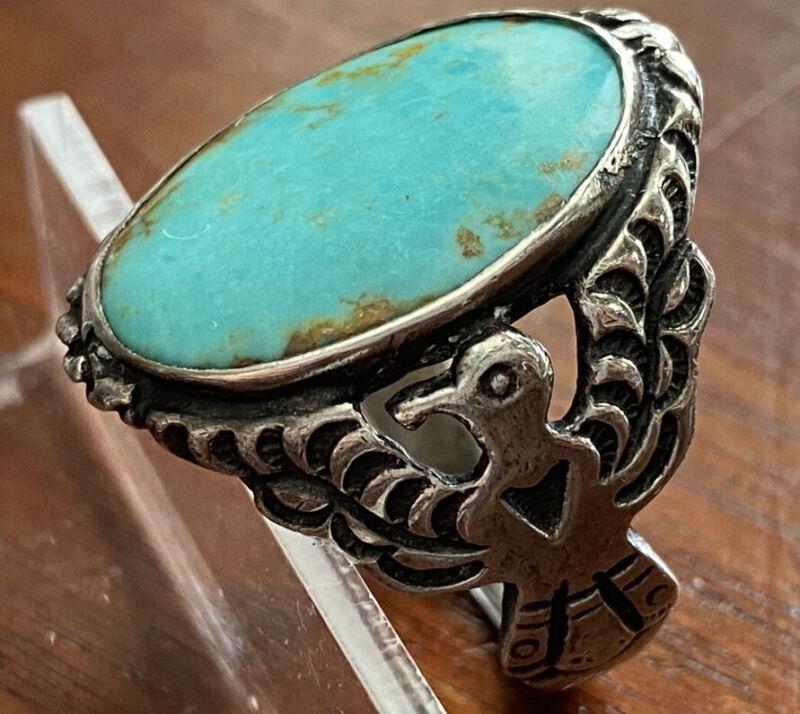 Vintage Sterling Silver Large Turquoise Ring Bird Design on Shank Sz 12