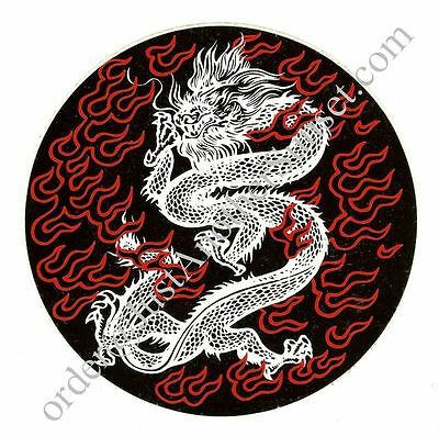 """Tribal DRAGON Chinese Flames Red Black White Sticker Large NEW Round 6"""" Asian"""