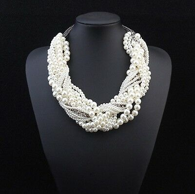 Fashion Crystal Women Chain Pendant Choker Bib Statement Pearl Necklace Jewelry