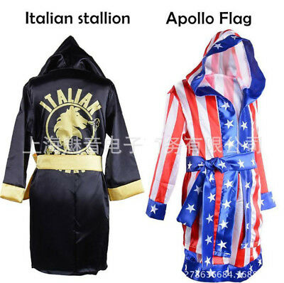 Rocky Italian Stallion Robe (Kid Boxing Costume Robe Movie Rocky Balboa Apollo American Flag Italian)