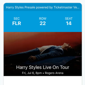 MUST SELL TODAY Harry Styles FLOOR ticket.