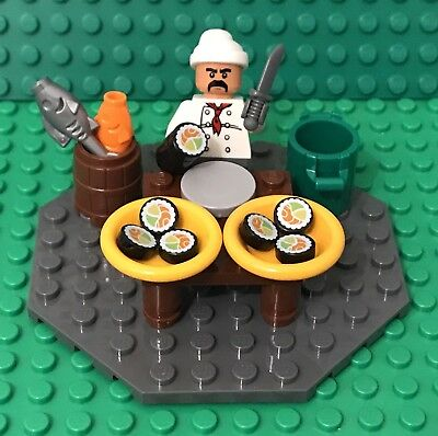Lego New MOC City Sushi Foods Restaurant Kitchen Table W/ Chef Mini Figure,fish