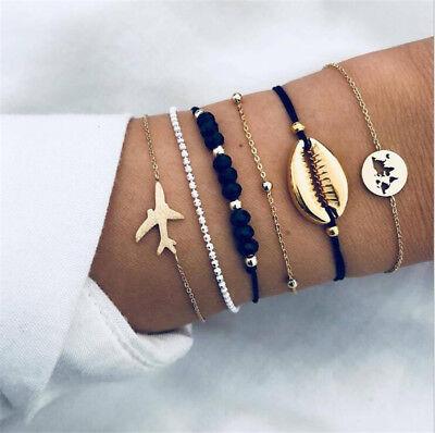 (6Pcs Fashion Women Boho Shell Airplane Beads Hollow Map Bracelet Bangle Jewelry)