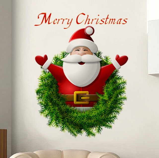 Santa Claus Art Vinyl Wall Stickers Christmas Home Room Decal Decor Decoration