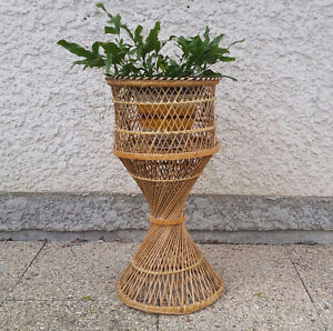 Vintage X-Large Wicker Plant Stand Holder 1980's