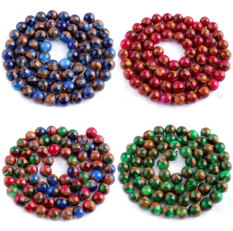 """new 6 8 10 12mm blue Sapphire Emerald in Quartz with Pyrite Round Beads 15/"""""""