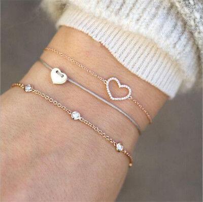 Fashion Women 3Pcs Crystal Heart Adjustable Open Bangle Gold Bracelet Jewelry