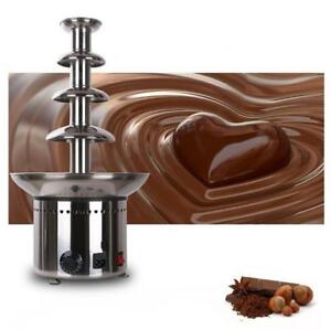 110V Electric Stainless Steel 4-Teirs Chocolate Fountain Fondue Party Kitchen 153071