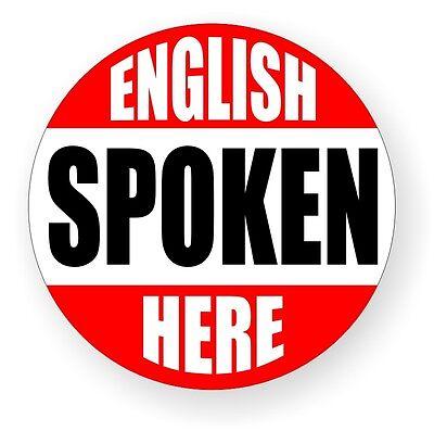 English Spoken Here Hard Hat Decal Label Sticker Construction Laborer Worker