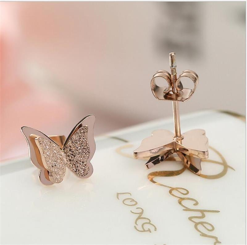 18K Rose Gold Titanium Stainless Steel Butterfly Stud Earrin