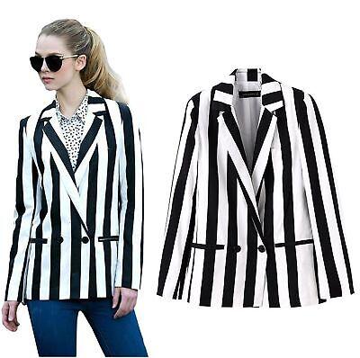 Halloween Costume Black And White Striped Leisure Blazers Ja