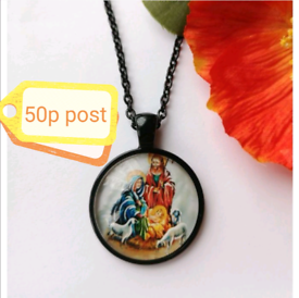 Jewellery Women's Woman's Gift Necklace Cabochon Black Religious