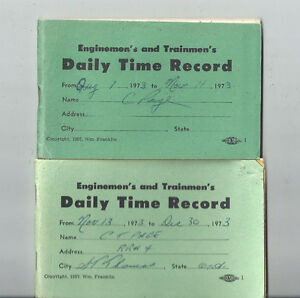 1973 TRAINMEN'S DAILY TIME RECORD BOOKS ST THOMAS ONTARIO