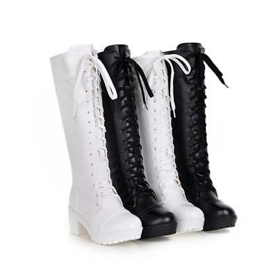 Women Cosplay Lace Up Chunky Block Heels Knee High Boots Lolita Gothic Shoes - Chunky Knee High Heels
