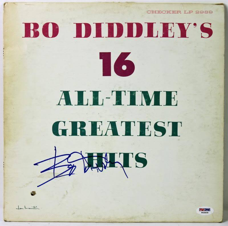 Bo Diddley 16 Greatest Hits Authentic Signed Album Cover PSA/DNA #W46858