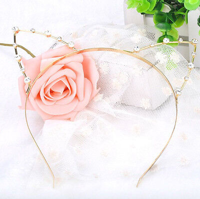 Sexy Cute Gold Rhinestone Cat Hairband   Head Fun Dress Up Halloween UK ()