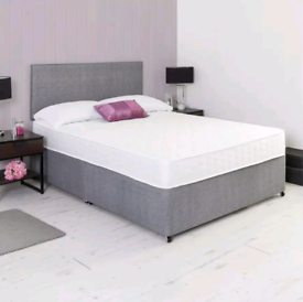 Brand New 4'6ft (double) plain fabric divan bed and headboard