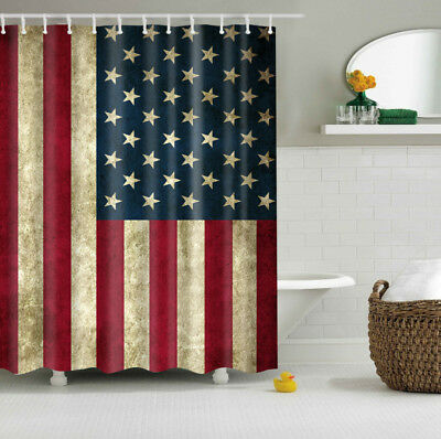American Flag Design Shower Curtain USA Decor Polyester Bath Curtains + 12 hooks