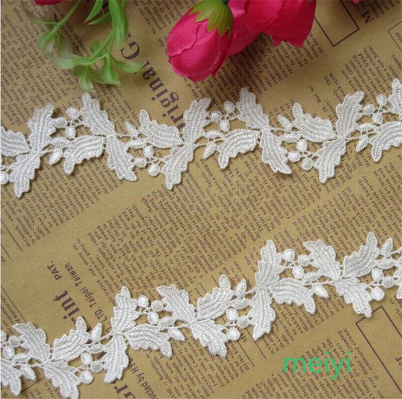 2 yards Vintage Tree Leaves Polyester Lace Trim Wedding Bridal Ribbon Sewing DIY