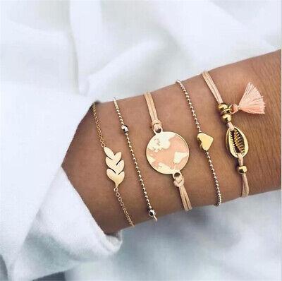 5Pcs/Set Fashion Women Boho Heart Map Shell Tassel Beads Bracelet Bangle Jewelry