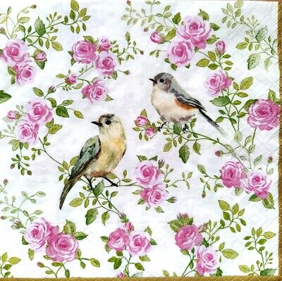 4 Lunch Paper Napkins for Decoupage Party Table Vintage, Birds, Pink Roses