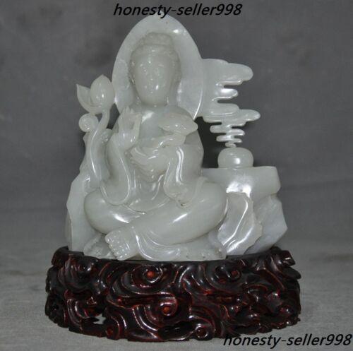 China Natural White Jade Hand-carved Guanyin Kwan-yin Goddess Bodhisattva Statue