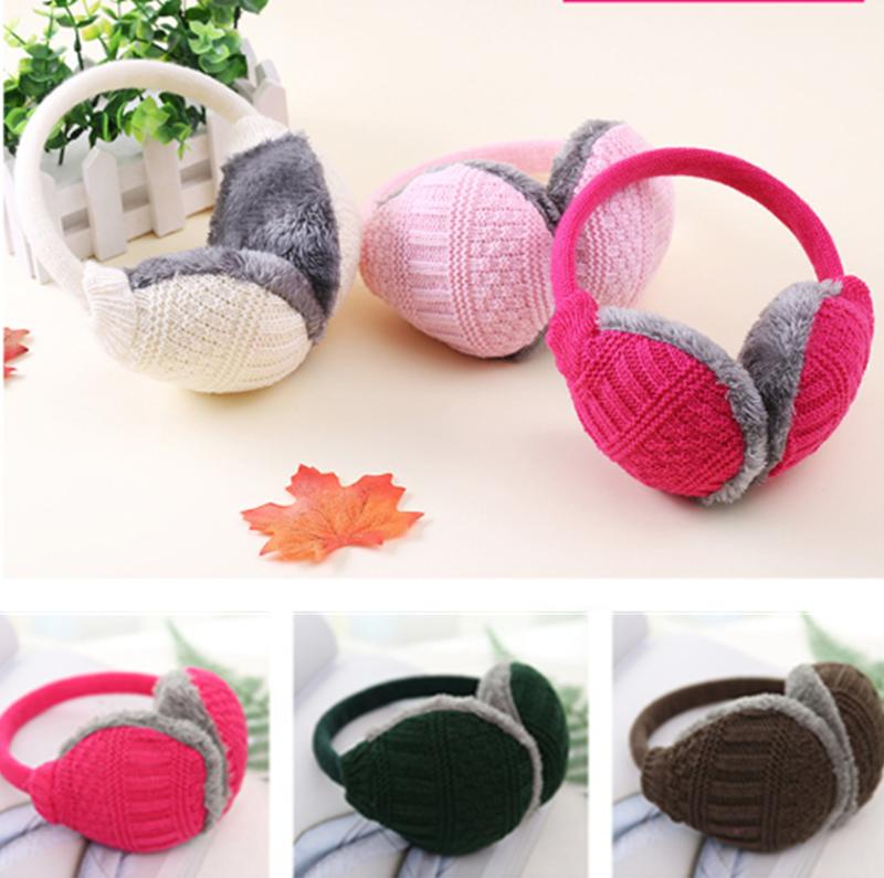 Unisex Winter Warm Knitted Earmuffs Ear Warmer Muffs Womens
