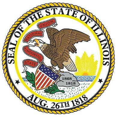 Illinois State Seal (Illinois State Seal Sticker MADE IN THE USA R532 )