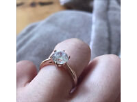 Silver rose gold plated cubic zirconia dress engagement ring