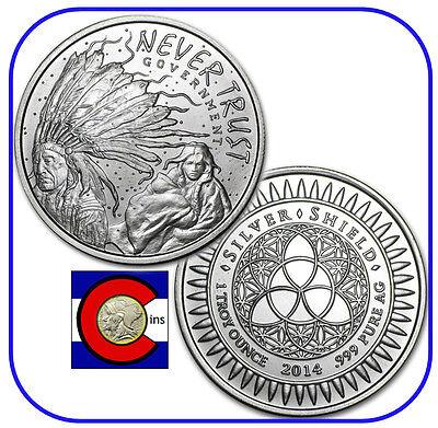 2014 Silver Shield Never Trust Government 1 Oz  Silver Round Coin