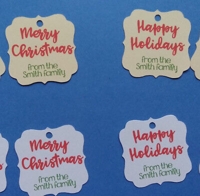24 personalized white or ivory Merry Christmas Happy Holidays gift favor tags  Christmas Favor Gift Tags