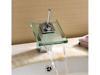 Designer glass waterfall basin mixer tap