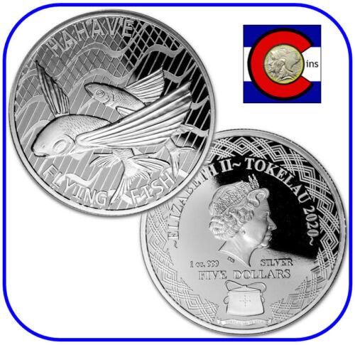 2020 Tokelau Flying Fish (Hahave) $5 1 oz Silver BU Coin in capsule