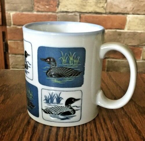 Vintage Otagiri Loon Coffee Mug Cup w Cattails & Lake Grass Made in Japan RARE!!