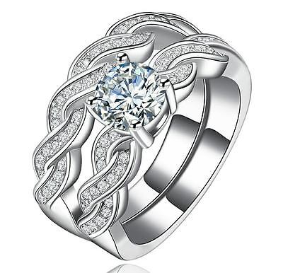 18KGP White Gold Round Cut AAA CZ Braided Engagement Ring Bridal Weding Band Set