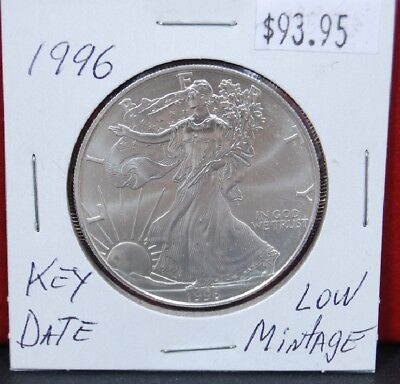 Uncirculated Silver Eagle Dollar Coins - 1996 Silver American Eagle BU 1 oz Coin US $1 Dollar Uncirculated Key Date Mint