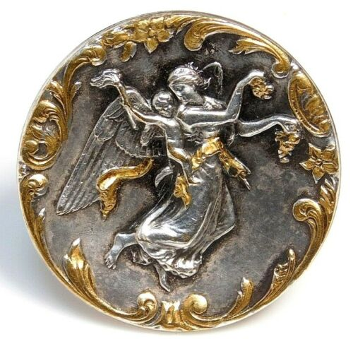 Antique Vtg Button SCARCE Large Silvered Brass VENUS & CUPID NICE! #G