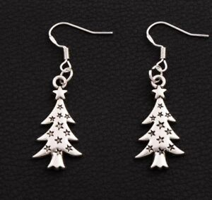 UK Brand New Christmas Tree Earrings - Silver Plated - Free 1st Class Delivery!