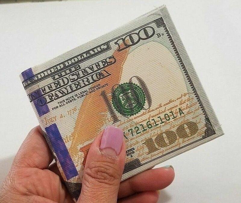 12X-US 2 Dollar Bill Money BiFold card holder ultra thin Canvas Wallet US Seller